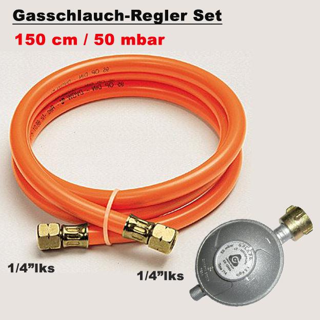 """50mbar Gas Niederdruckregler 1//4/"""" Inkl Gasschlauch  für Gaskocher Gasgrills"""