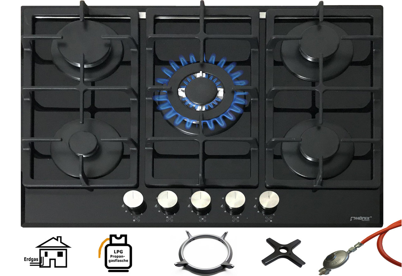 ph nix pg 901t gaskochfeld gaskocher 5 flammig glas einbauherd. Black Bedroom Furniture Sets. Home Design Ideas