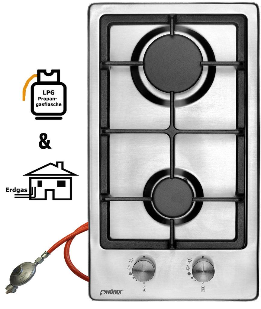 ph nix domino gaskochfeld edelstahl gaskocher 2 flammig. Black Bedroom Furniture Sets. Home Design Ideas