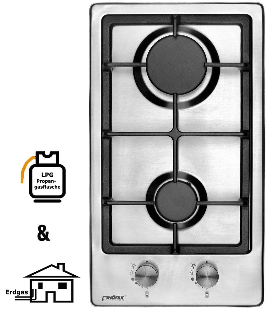 ph nix domino gaskochfeld edelstahl kochfeld gaskocher 2 flammig. Black Bedroom Furniture Sets. Home Design Ideas